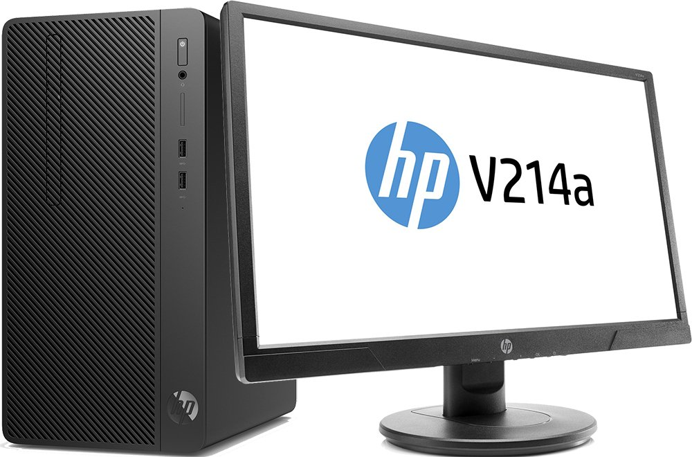 Настольный компьютер HP 290 G2 MT Bundle + 21 монитор V214a (3ZD27EA)Настольные компьютеры<br>i3-8100(3.6Ghz)4 Gb500Gb HDDне установленGb SSDUHD Graphics 630DVD DOSЧерный